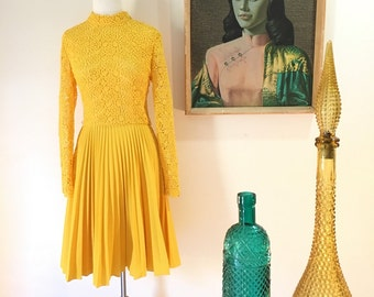 Vintage 1960s yellow lace dress mad men style