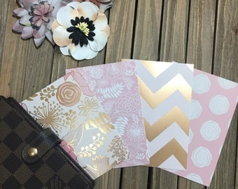 "Planner Dividers:""Blush and Bashful"", pinks, golds, and creams tabbed dividers/in size pocket, personal, or A5 for planners and agendas"