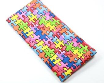 AUTISM Fabric Case, Sunglasses Case, Eyeglasses Case, Autism Awareness Fabric Puzzle Case