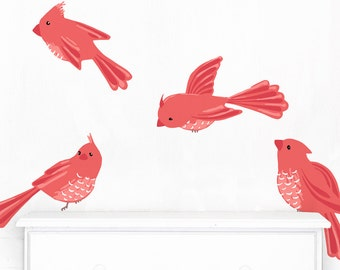 Birds - Fabric Wall Decal - Sweet Birds - Cherry - Mej Mej