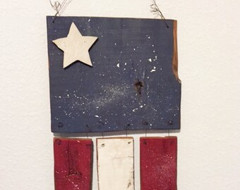 Wooden Flag Inspired Hanging - Upcycled Red, White & Blue Barn Wood