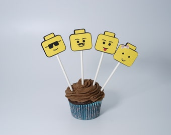 Building block cupcake toppers (set of 12)