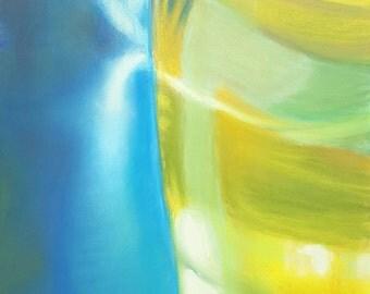 Blue, yellow, pastel, drawing, original, ooak - soft pastels on Pastelmat paper-18x24 cm./7x9,5 inc.,gift idea,bedroom, living