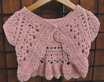 Hand crocheted shrug- size 3-4 years, cotton/linen blend yarn