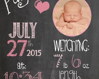 Personalized Baby Girl Chart - with photo