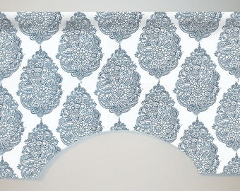 Premier Prints Yorkshire Custom Valance Curtain, Navy Blue, Paisley Damask, Lined