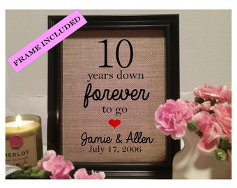 FRAMED 10 year wedding anniversary gift, 10th wedding anniversary, Wedding gift, Anniversary gift, ten years, 10 years down forever to go