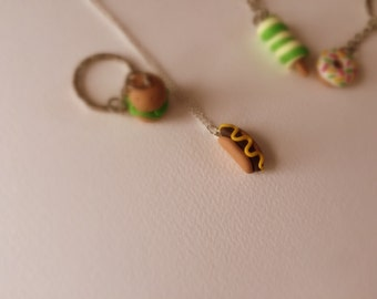Junk food jewellery, hot dog, retro pendant, key chain