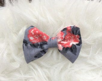 Gray floral bow/baby floral bow/infant floral bow/bows/little girl bows/gray bows