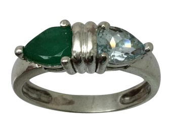 14k Aquamarine & Emerald Ring, Free Sizing