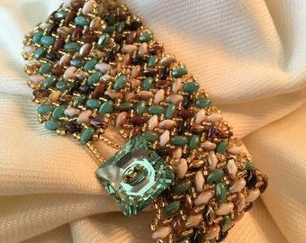 Fancy Herringbone Bracelet, Beaded bracelet, Beadweaving, Cuff Bracelet