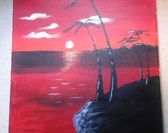 Red sunset palm tree painting
