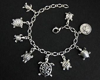 Turtle Bracelet.  Sea Turtle Charm Bracelet. Tortoise Bracelet. Turtle Jewelry. Silver Bracelet. Handmade Jewelry.