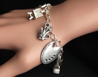 Artist Bracelet. Charm Bracelet. Art Bracelet. Creativity Bracelet. Painter Bracelet. Silver Bracelet. Handmade Jewelry.