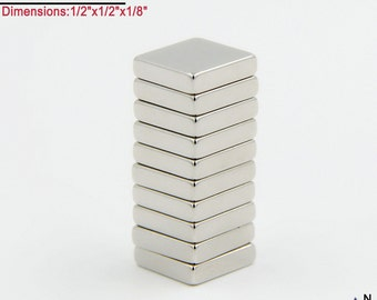 "10-Ct (Free Shipping) Neodymium N40 NdFeb Block Magnets 1/2"" x 1/2"" x 1/8"" -fridge, scrabble tile, and glass magnet"