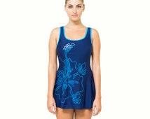 Women One Piece Swimsuit Ladies Skirted Swimwear Swimdress Modest Bathing Suit with Skirt