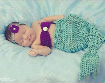Newborn Baby Girl Crochet Mermaid Set Photography Prop Halloween Costume
