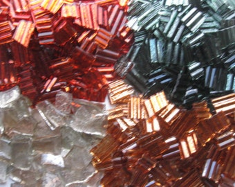 Mosaic Tile Pieces / Shimmering Translucent Ribbed Glass, Red, Green, Gold and Clear  # 249