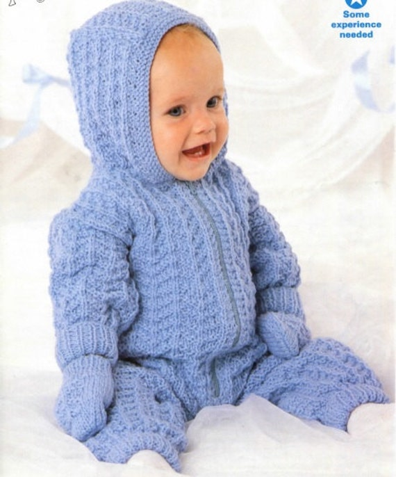 Knitted All In One Baby Suit Pattern : Knitting pattern baby All in one pram suit onesie PDF Instant