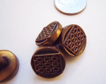 Vintage Asian Square in the Round Small Buttons -Set of 4