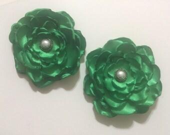 St. Patricks Day Green Singed Flower Hair Clips
