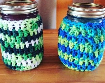 Coffee coozies jar coozies mason jar coozies cup coozies colorful glass coozies crocheted coozies coffee cup coozies canned gifts