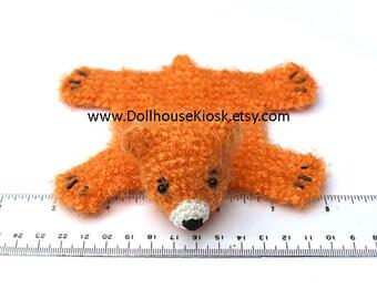 Dollhouse Miniature Knitted Bear Skin Rug - Orange - Limited Edition