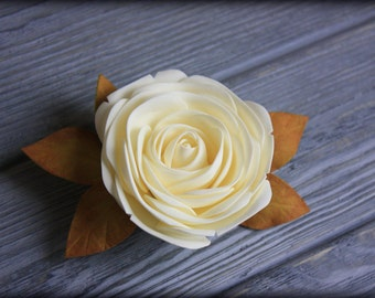 Hair clip with ivory rose