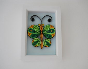 Quilled Paper Art Green Butterfly