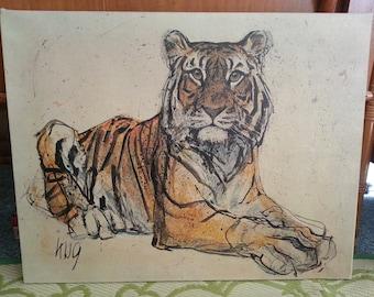 Fritz Rudolph Hug Tiger art on canvas reproduction