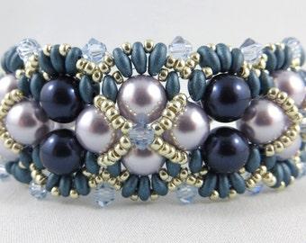 Swarovski Crystal Pearls, Bicones and Miyuki Twin Holes Bracelet