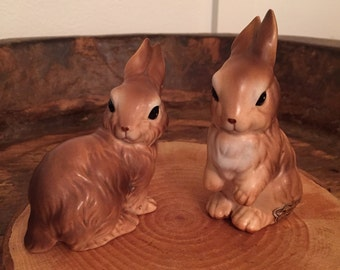 Vintage Norcrest Brown Cottontail Bunny Rabbit Collectible Figurines Set of 2 with Original Stickers and Stamped A318