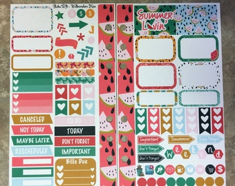Watermelon Kiss Medium Personal MM Stickers Louis Vuitton Mambi Inkwell Press Filofax Kikki K Happy Life Planner LV summer tropical