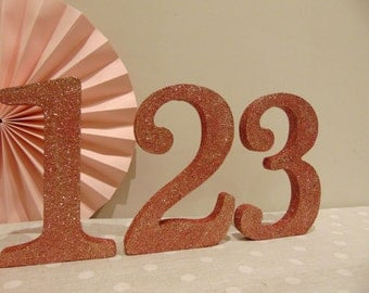 Free Standing Rose Gold Glitter Table numbers