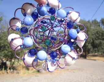 Shell - Blue Bead Sun Catcher #5841