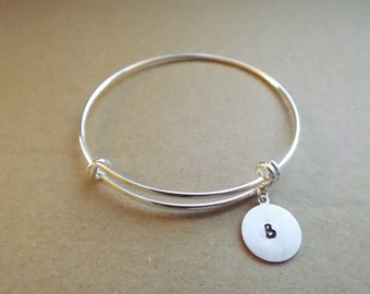 Initial hand-stamped charm stainless steel bangle bracelet