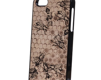 iPhone 5 wood case bees