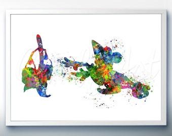 Disney Sorcerer Mickey Mouse Watercolor Art Print - Wall Decor - Watercolor Painting - Artwork - Home Decor - Kids Decor - Nursery Decor[1]