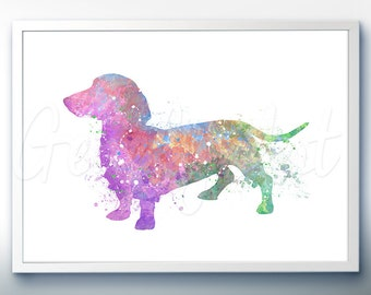 Dachshund Watercolor Art Print [3]  - Home Living - Animal Painting - Dog Poster - Wall Decor - Home Decor - House Warming Gift
