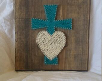 Handmade Cross & Heart Nail/Thread Wood Wall Art YOU PICK COLORS
