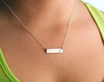 Initial Bar Necklace • Wedding Initial Stocking Stuffer Sterling Silver • Layered Bar Short Bar Horizontal Friend Gift Dainty Bar Stamped