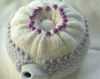 800mL 2 cup tea cosie in almond and light grey Australian wool; geometric design; emblished with grape coloured glass beads