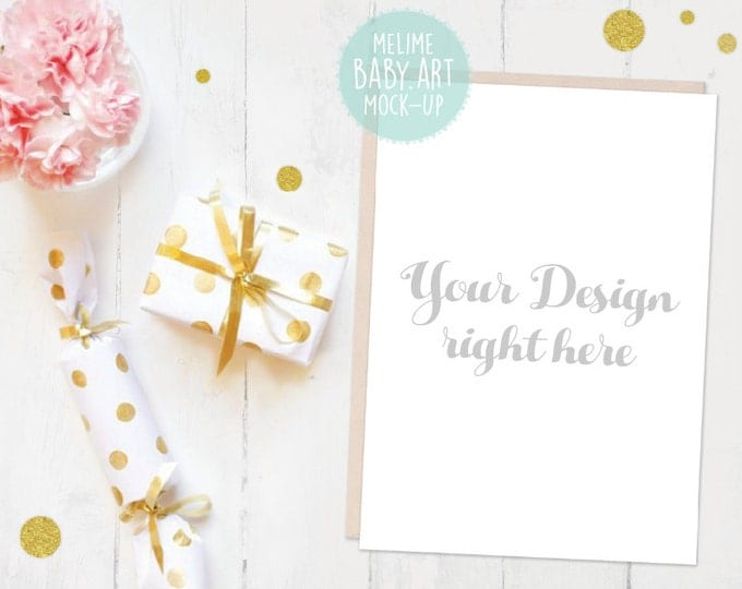 5x7 Card Mockup, Party Invitation Mockups, 5x7 invite Mockup, Styled Photography Mockup, Card and Envelope, Gold Confetti Mockup (Gold)