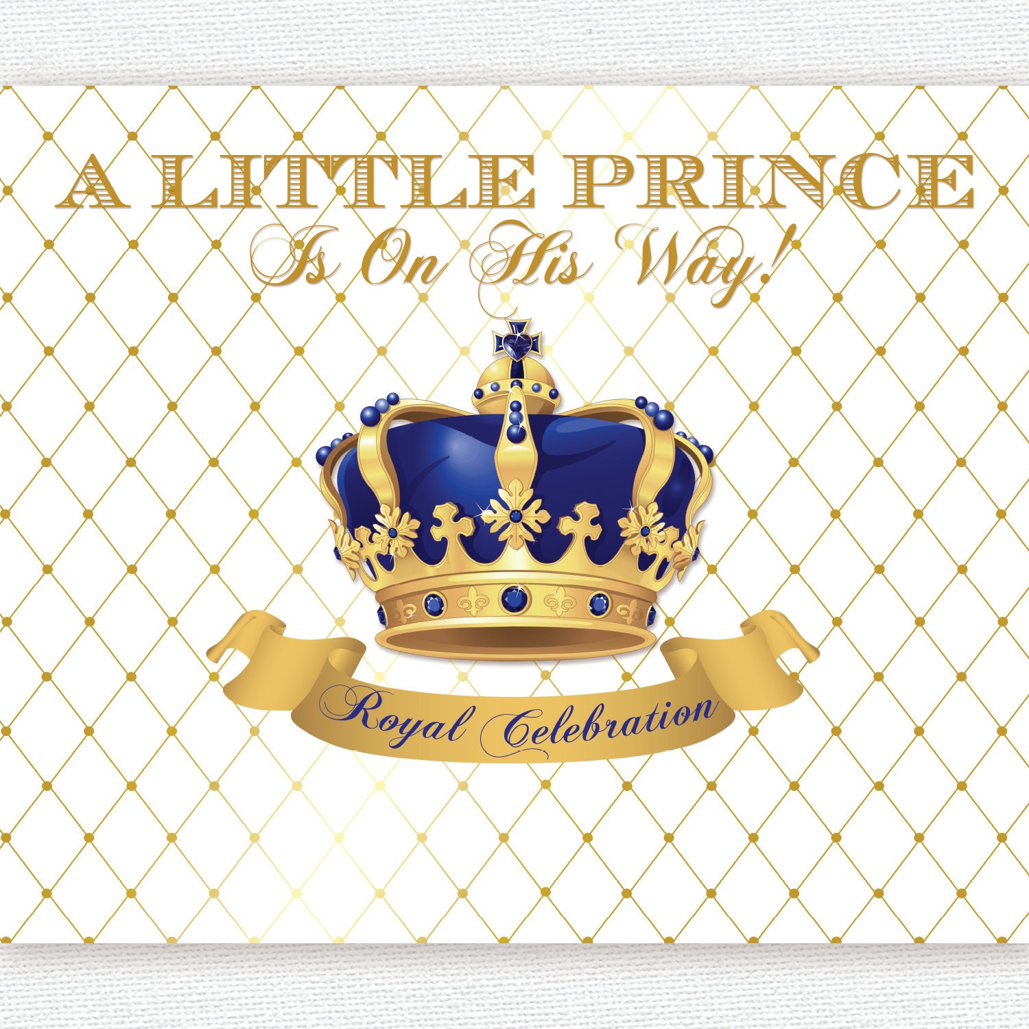 gold and royal blue prince crown baptism christening