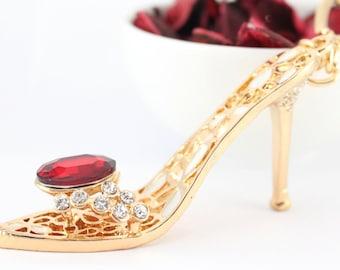 Gold Heels Stiletto Shoes Keychain Rhinestone Crystal Charm Cute Purse Gift Accessory Present