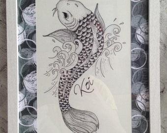 CARP Koi frame * Tattoo design * Hipster * framework deco carp Koi
