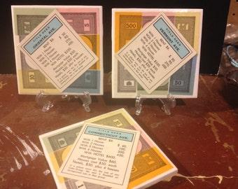 Set of 3 Monopoly Tile Coasters - Light Blue Properties
