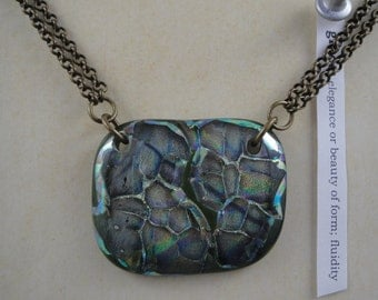 Green and blue dichroic glass pendant