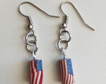 Earrings, jewelry, patriotic jewelry, flag earrings