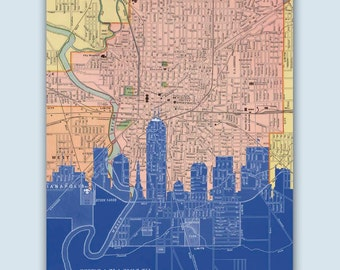 Indianapolis Skyline, Indianapolis Decor, Indianapolis Print, Personalized Skyline Print, Wedding Gift, Indianapolis Map, Indiana Wall Art